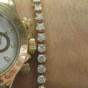 Jewelry - Fine Round Cut Diamond 4-Prong Tennis Bracelet Yel